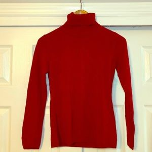 LOFT Red Long Sleeved Turtle Neck Top Size XS
